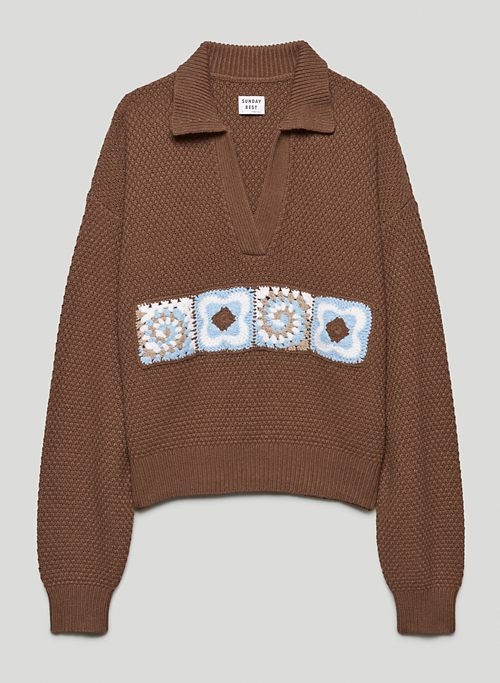 LOTTIE SWEATER - Knitted polo sweater with crochet detail