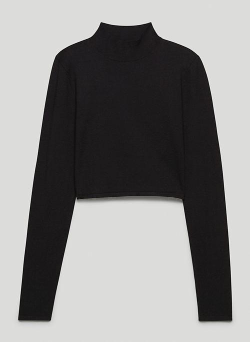 ELLIE SWEATER - Mock-neck, open-back sweater