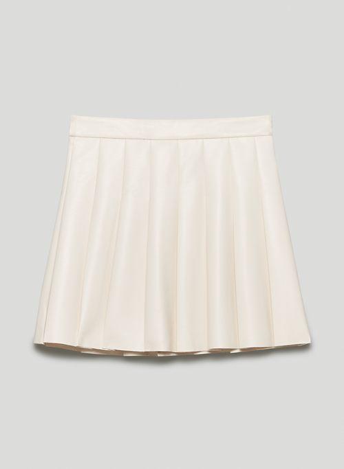 """OLIVE MINI 15"""" SKIRT - Pleated, faux leather mini skirt"""