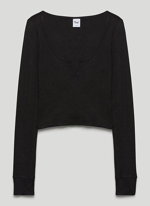 THERMAL SCOOPNECK - Cozy cropped, thermal long-sleeve shirt