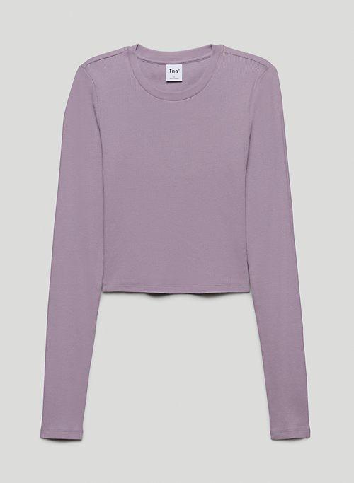 RIBBED CROPPED LONGSLEEVE - Ribbed long-sleeve shirt