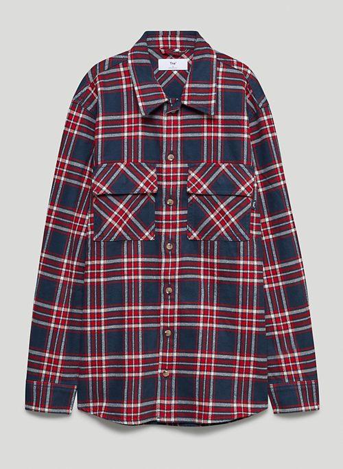 PLAID OVERSIZED BUTTON-UP - Plaid oversized button-up shirt