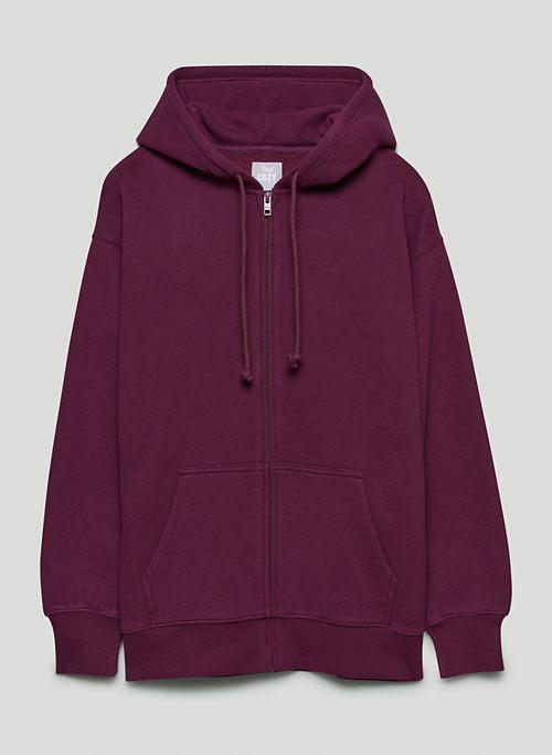 COZY FLEECE BOYFRIEND ZIP-UP HOODIE - Relaxed zip-up hoodie