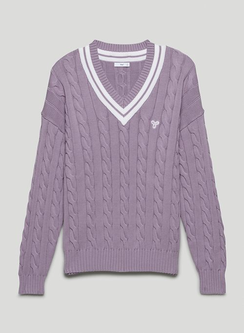 CLAY SWEATER - V-neck cable-knit sweater