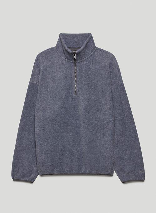 POLAR 1/4 ZIP SWEATER - Heathered 1/4 zip fleece sweatshirt