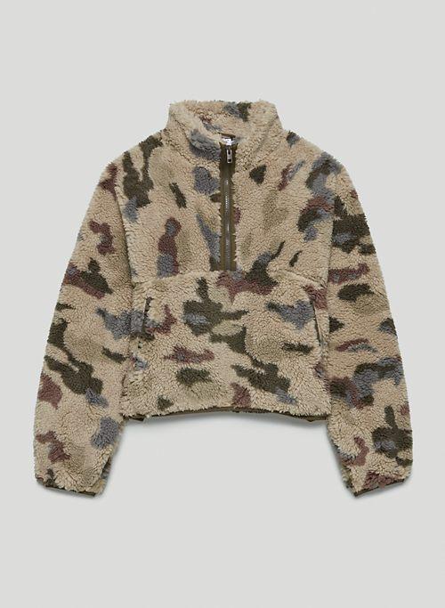 RUSH SWEATER - Half-zip mock-neck fleece sweatshirt