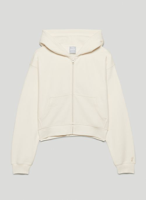 COZY FLEECE BOYFRIEND BOXY ZIP HOODIE - Boxy zip-up hoodie