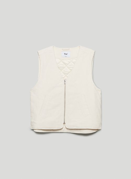 CARLAW VEST - Vegan V-neck, quilted vest