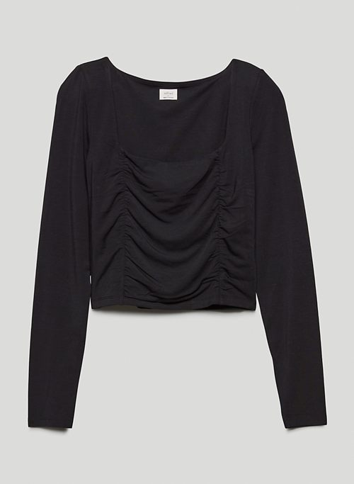 LYDIA TOP - Rouched long-sleeve shirt