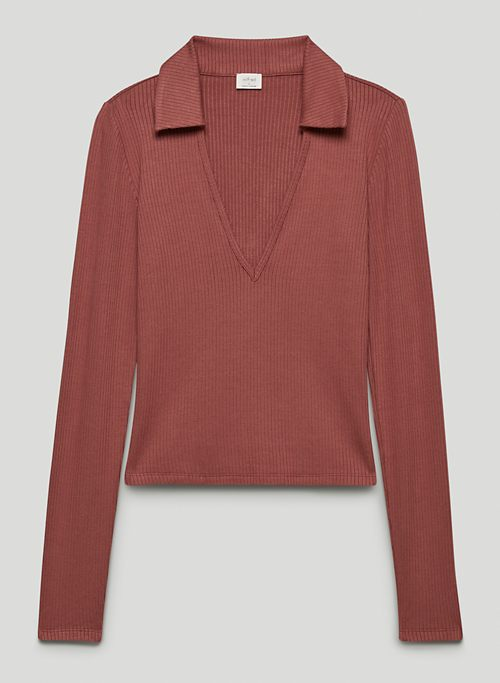 CHARLOTTE TOP - Collared V-neck, long-sleeve polo shirt