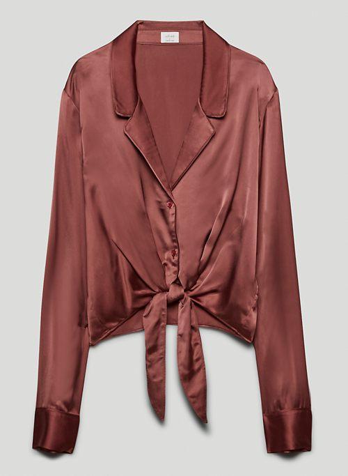 TIE FRONT BLOUSE - Tie-front button-up blouse