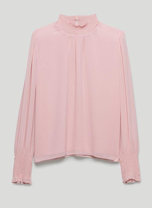 VALENCIA BLOUSE - Mock-neck, puff-sleeve blouse