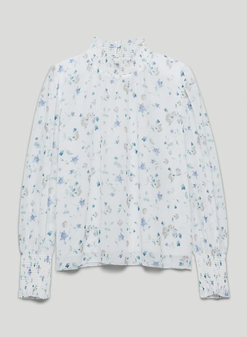 VALENCIA BLOUSE - Printed mock-neck, puff-sleeve blouse