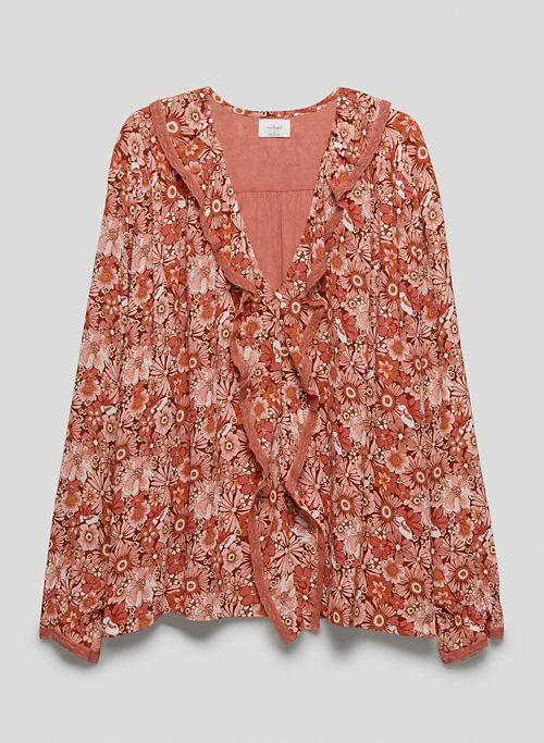 EDEN BLOUSE - Printed, ruffled V-neck blouse