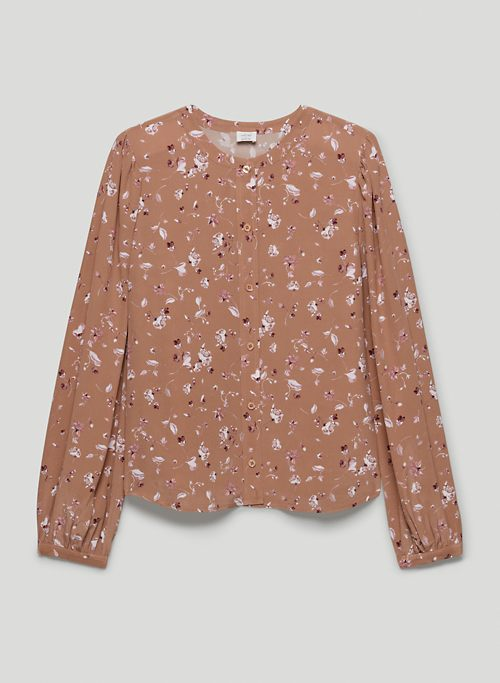 NAOMI SILK BLOUSE - Floral long-sleeve silk button-up shirt