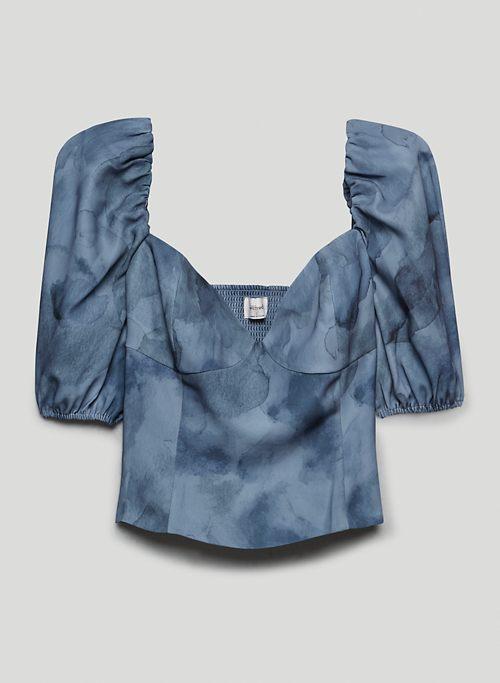 NOVELLA SHORTSLEEVE BLOUSE - Printed, puff-sleeve sweetheart blouse