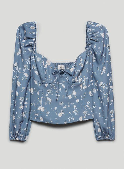NOVELLA BLOUSE - Printed, puff-sleeve sweetheart blouse