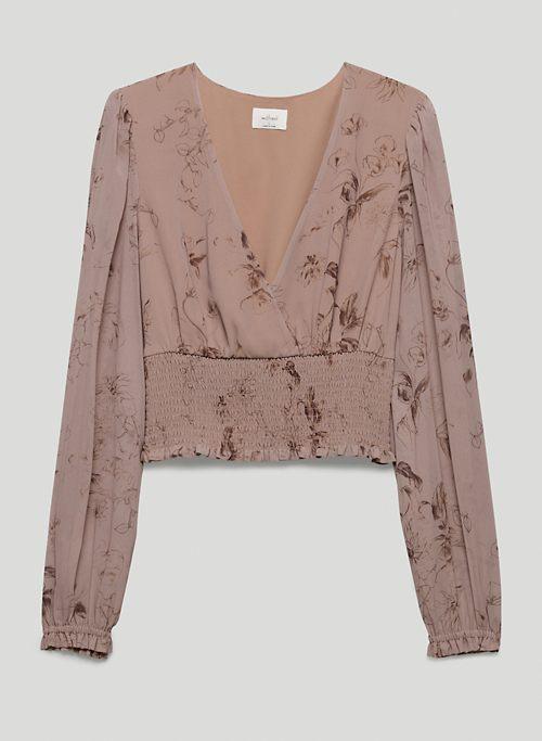 GENOA BLOUSE - Smocked V-neck blouse