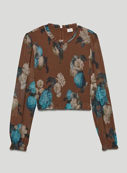 TEMPEST BLOUSE - Smocked chiffon blouse
