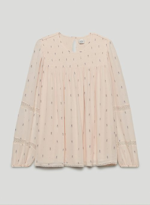 RUTHIE BLOUSE - Printed long-sleeve, smocked blouse