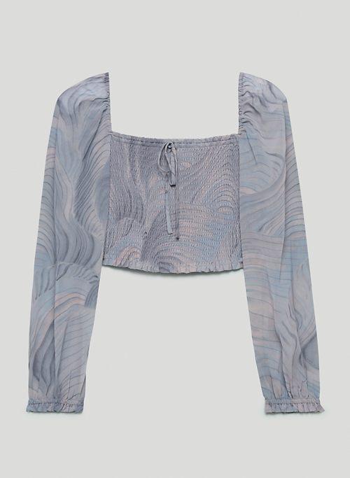 SAGA BLOUSE - Printed, smocked chiffon blouse
