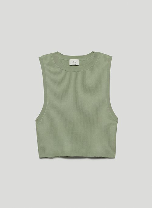 RESO SWEATER - Cropped rib-knit, crew-neck tank top