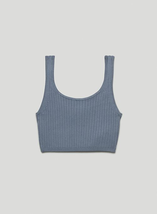 MANILA CROPPED TANK - Ribbed, scoop-neck bra top