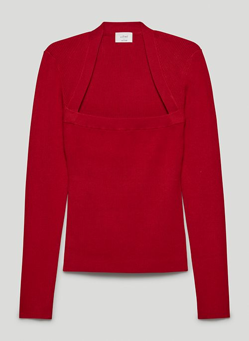 DOMINIQUE SWEATER - Ribbed, open-neck sweater