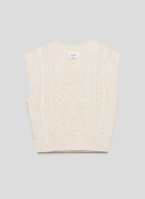 LIA VEST - Cable-knit, V-neck sweater vest