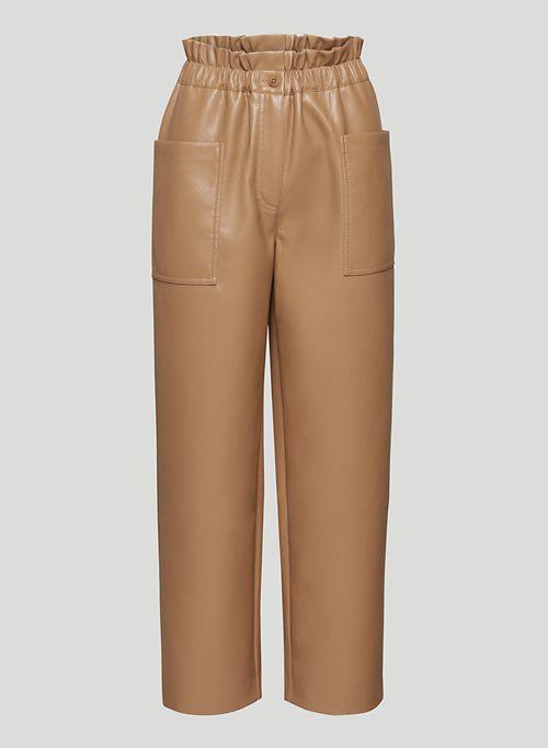 CAROLINE PANT - Vegan Leather paperbag pants