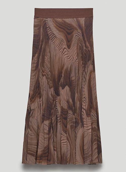 TWIRL SKIRT - Printed, pleated chiffon maxi skirt