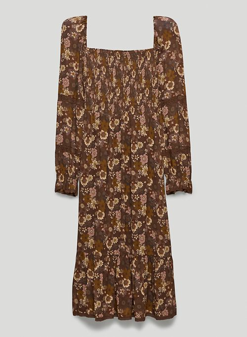 GRACE DRESS - Printed, smocked square-neck dress
