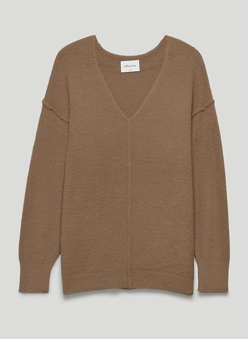 HUSH KNIT V-NECK SWEATER - V-neck chenille sweater
