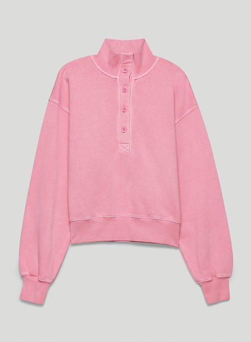 FREE FLEECE BUTTON SWEATSHIRT - Button-up mock-neck fleece sweatshirt