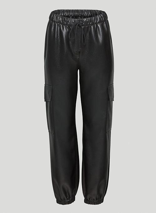 SELENA JOGGER - Mid-rise Vegan Leather cargo pants