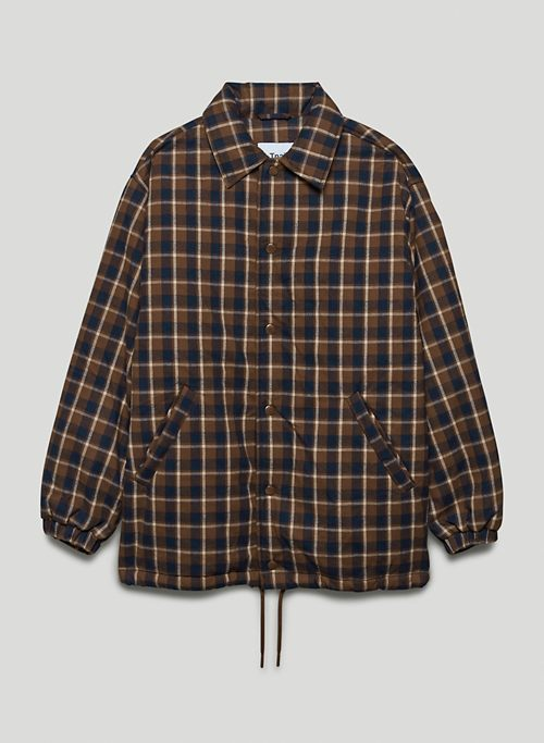 COACHES PUFFER - Oversized vegan-down, flannel puffer jacket