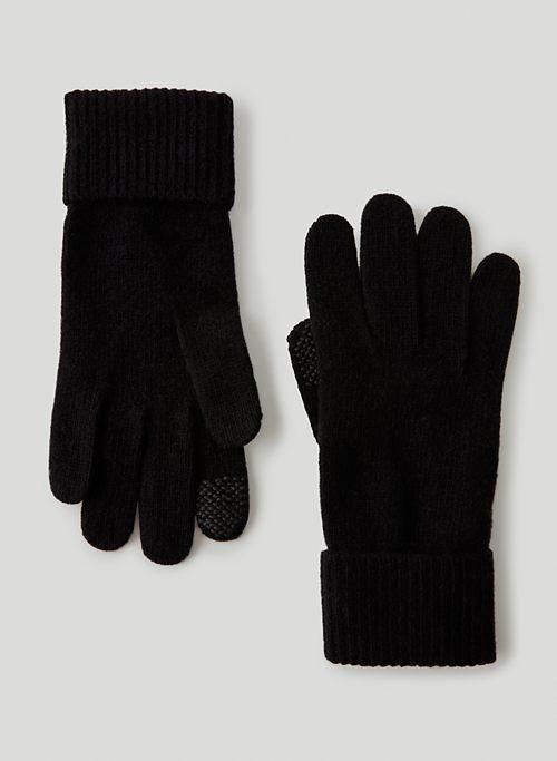 CASHMERE CUFFED GLOVES - Tech-friendly cashmere gloves