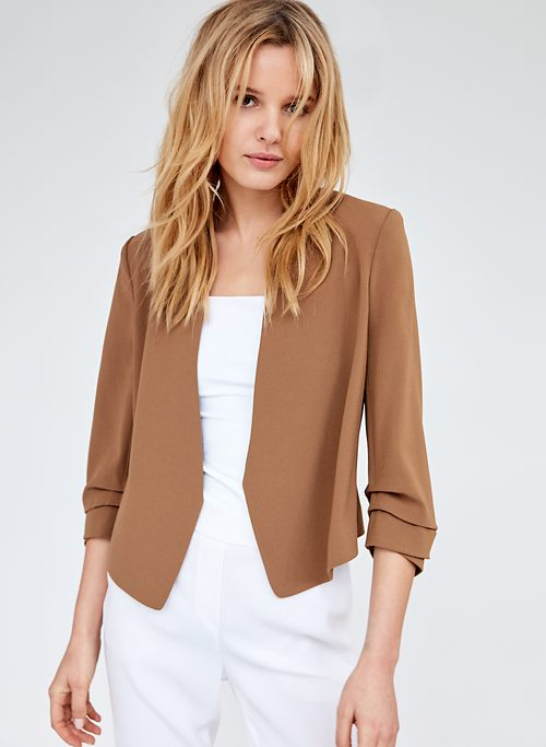 b7422ea502f8 MACAULEY SHORT BLAZER - Cropped, 3/4 rolled sleeve blazer