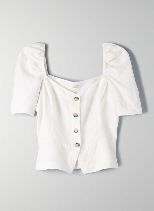 JANINE TOP - Button-front, linen-blend blouse