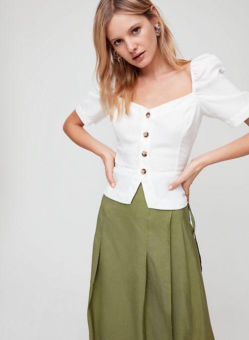 c32dcd8fdf9c52 JANINE TOP - Button-front, linen-blend blouse