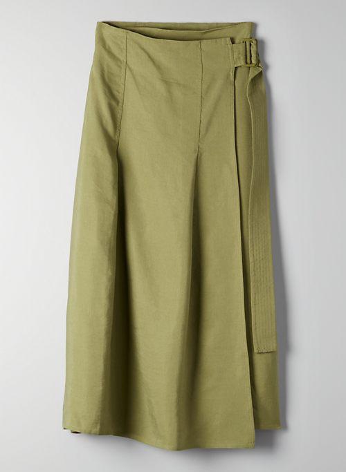 SILANA SKIRT - Wrap, linen-blend midi skirt