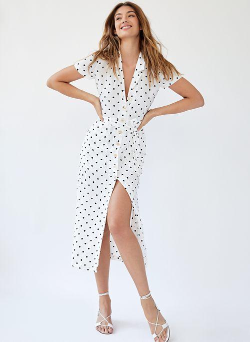 4d334eb96d0d4 SHIRT DRESS - Polka-dot button-front midi dress