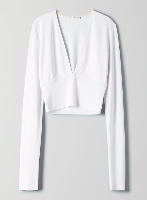 557e14f79e0dc2 BRIGITTE T-SHIRT - Deep V-neck long-sleeve cropped shirt