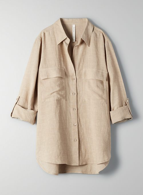 UTILITY LINEN BUTTON-UP - Linen button-up shirt
