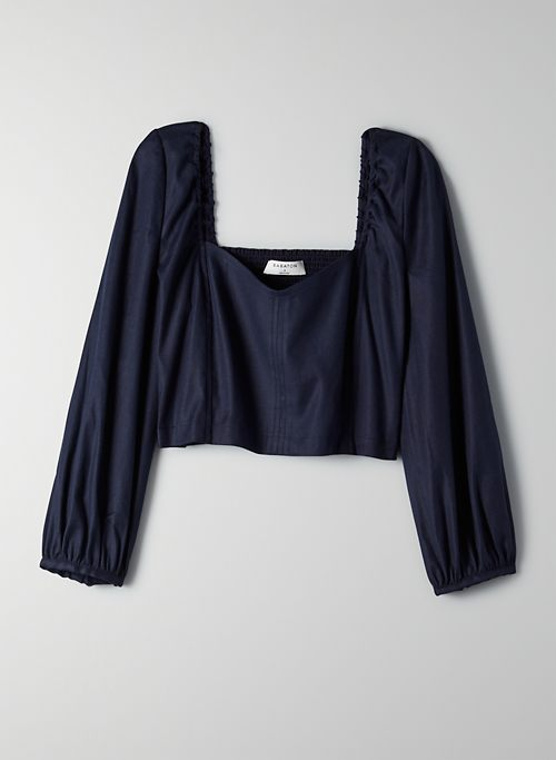 HADWYN BLOUSE - Cropped puff-sleeve blouse