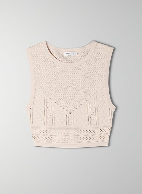 POINTELLE CROPPED TANK - Sleeveless cropped sweater