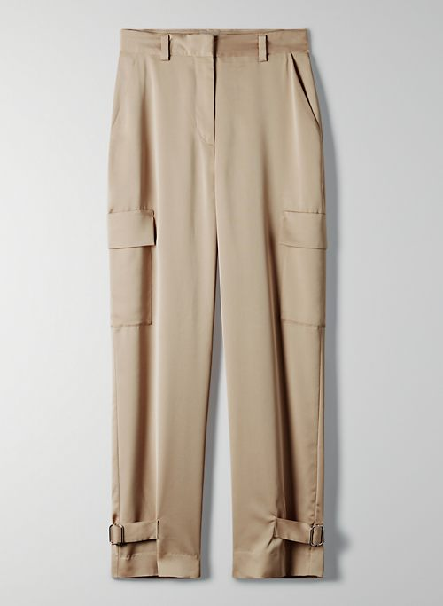 REFINED CARGO PANT - High-rise satin cargo pants
