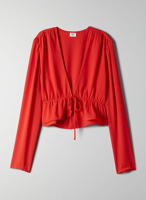 CROPPED TIE-FRONT BLOUSE