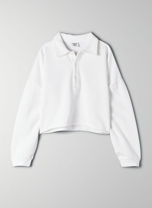 CROPPED FLEECE POLO | Aritzia