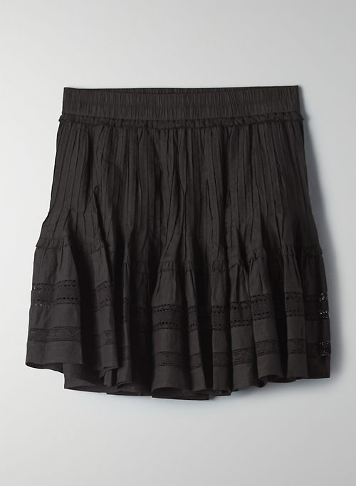JADIE SKIRT - Lace-trim, ruffle mini skirt